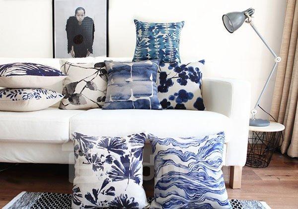 Pastoral Style Indigo Leaves Decorative Throw Pillow