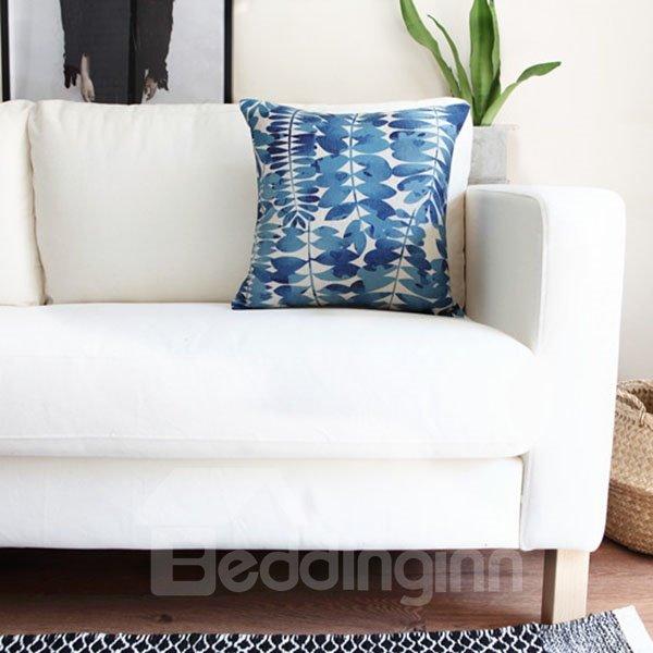Elegant Tie-dyed Indigo Leaves Decorative Throw Pillow