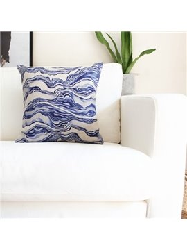 Personality Style Indigo Water Ripple Print Throw Pillow