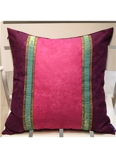 Minimalist Style Pink and Purple Color Block Throw Pillow Case