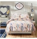 Noble Lovely Blue Flower Reactive Printing 4-Piece Duvet Cover Sets