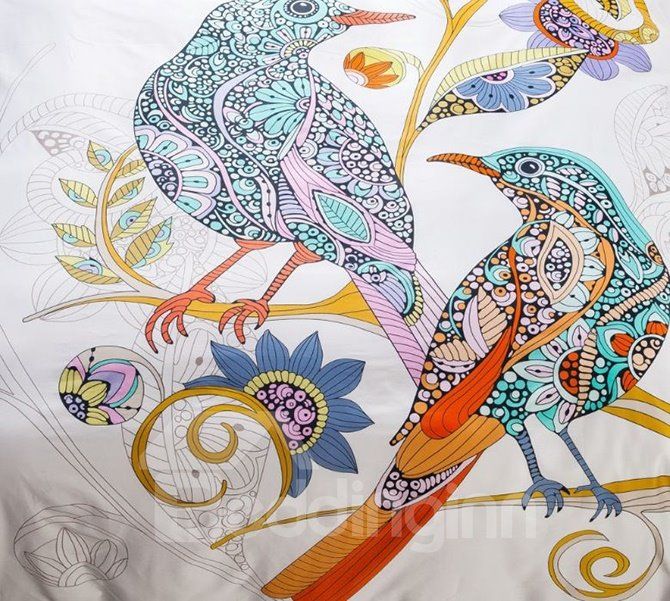 Fancy Egyptian Cotton Vivid Cartoon Birds Print 4-Piece Duvet Cover Sets