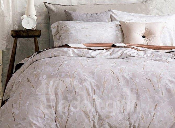 Minimalist adorable leaves print 4 piece cotton duvet for Minimalist bedding sets