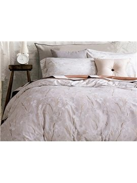 Minimalist Adorable Leaves Print 4-Piece Cotton Duvet Cover Sets