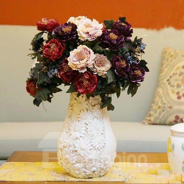 Purple European Style Decorative Peony Artificial Silk Flowers