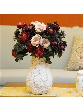 Purple European Style Decorative Peony Artificial Silk Flowers
