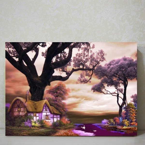 Purple Countryside Scenery Pattern Decorative Wall Art Print