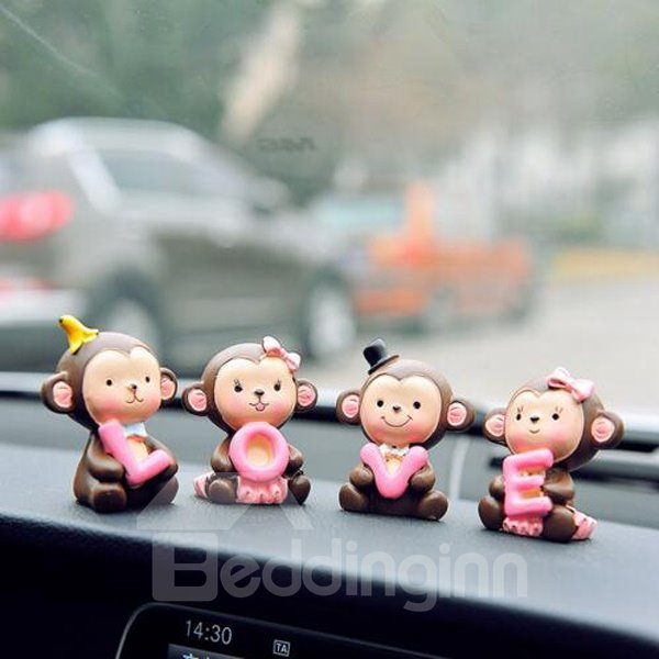 Exquisite And Cute Cartoon Monkey With Love Style Creative Car Decor