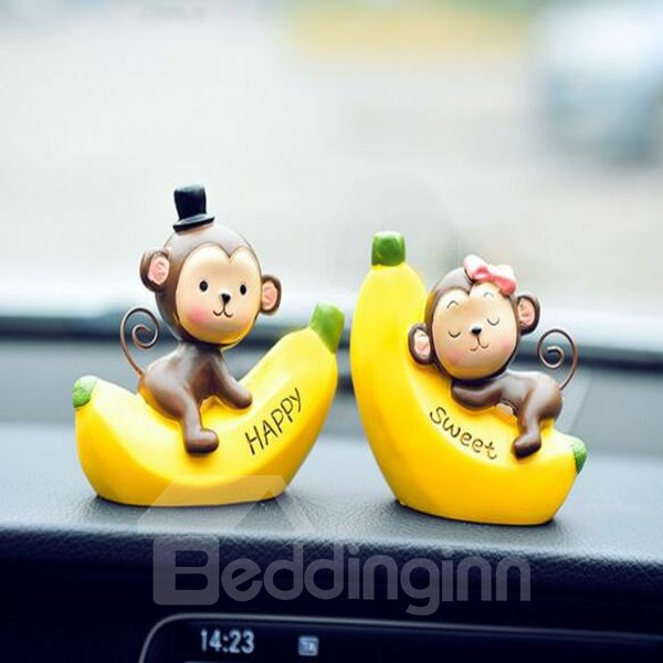 Cute Funny Monkey With Banana Cartoon Creative Car Decor