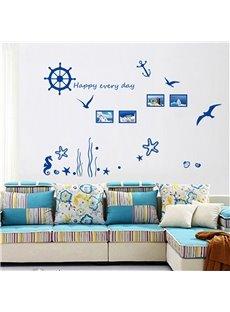 Mediterranean Style Navigation and Starfish Pattern Wall Sticker