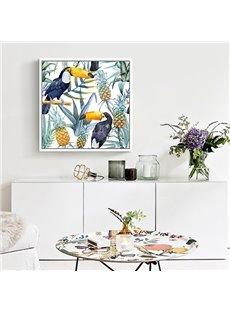 Decorative Selva Style Animal and Flower Pattern Wall Art Print