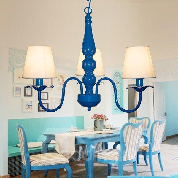 Simple Blue Mediterranean Style 3 Lights Ceiling Llight