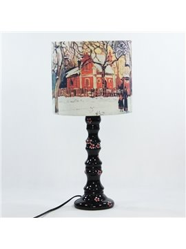 Decorative Oil Painting Style Villa Pattern Table Lamp