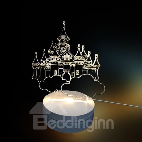 White Three-Dimensional 3D Castle Pattern LED Light