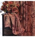 Stamping Technology Oil Painting Style Rose Pattern Grommet Top Curtain