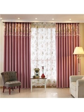 Modern Romantic Chenille Pure Colored Grommet Top Curtain