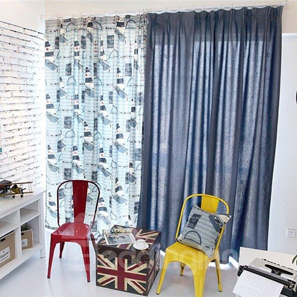 Navigation Theme Asymmetric Pattern Linen Grommet Top Curtain