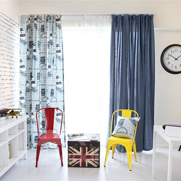 Navigation Theme Asymmetric Pattern Linen Grommet Top Curtain
