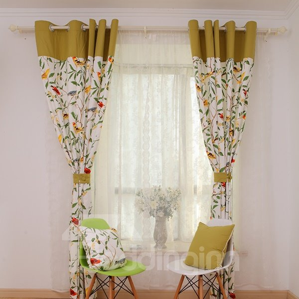 Classic American Country Style Bird and Flower Cotton and Linen Blending Grommet Top Curtain