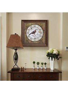 Classic European Style Bird Clock Pattern Wall Art Print