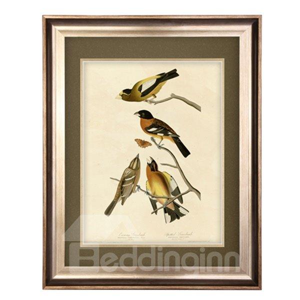 Elegant Flower and Bird Pattern Living Room Wall Art Print