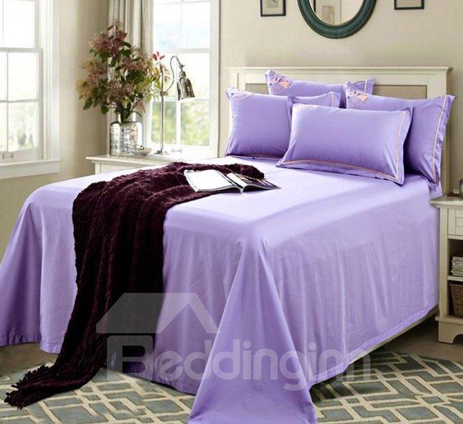 Noble Exquisite Flower Embroidery Purple 4-Piece Cotton Duvet Cover Sets