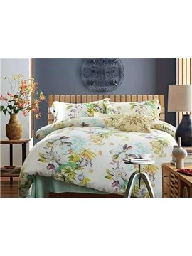 Ultra Soft Tropical Floral 4-Piece Tencel Duvet Cover Sets