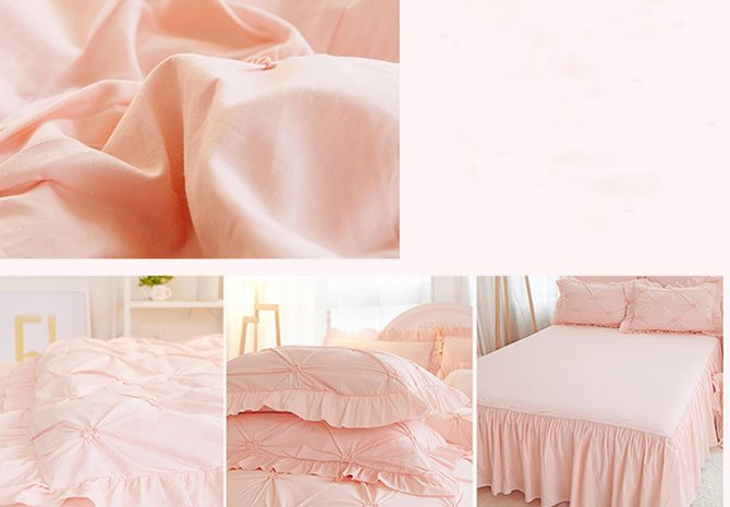 Solid Pink Pinch Pleat 4-Piece Cotton Duvet Cover Sets