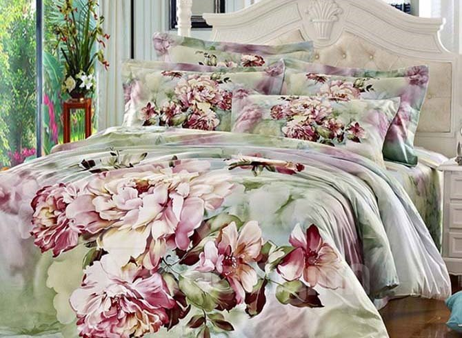 Charming Peony Oil Painting 4-Piece Cotton Duvet Cover Sets