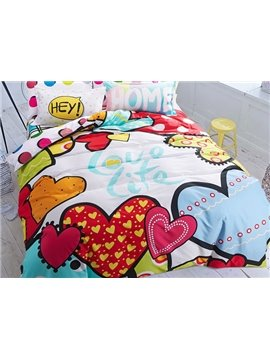Cute Heart Pattern 4-Piece Cotton Kids Duvet Cover Sets