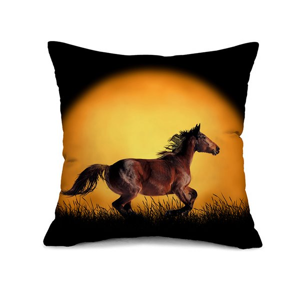 Amazing Vivid Running Horses Print Throw Pillow Case