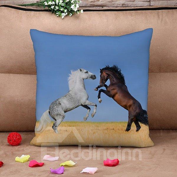 Amazing Lifelike Horses Print Throw Pillow Case