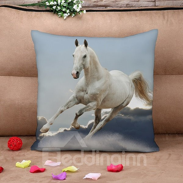 3D White Horse Reactive Printing Throw Pillow Case