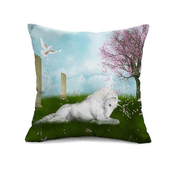 Dreamy White Horse Print Throw Pillow Case