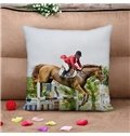 Unique Design Horse Racing Print Throw Pillow Case