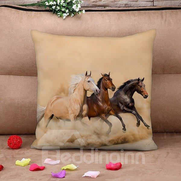 Fancy Three Running Horses Print Throw Pillow Case
