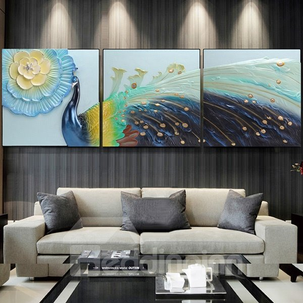 Luxury Three-Dimensional Peacock Embossment Effect Wall Art Print
