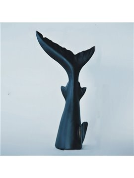 Black Resin Whale Tail Shape Desktop Decoration