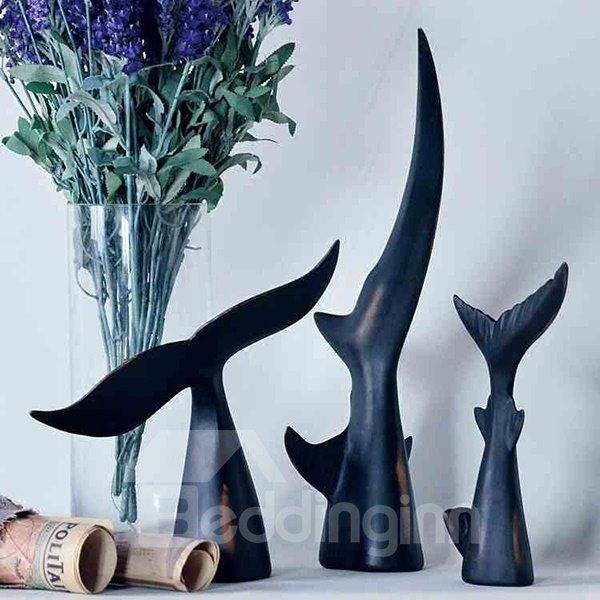 Black Resin Whale Tail Shape Desktop Decoration