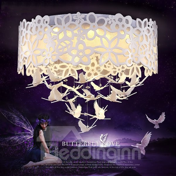 White Round Romantic Warm Flowers and Birds Pattern Ceiling Light