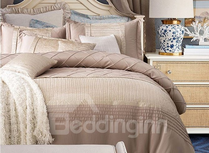 Magnificent Stereoscopic Embellishment Cotton and Silk 4-Piece Duvet Cover Sets
