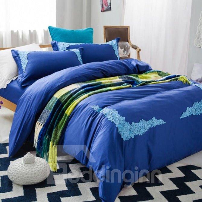 Noble Blue Lace Embellishment 4-Piece Cotton Duvet Cover Sets