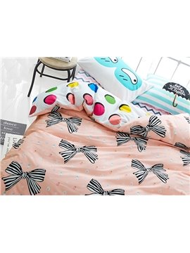 Cute Stripe Bowtie Print 4-Piece Cotton Kids Duvet Cover Sets