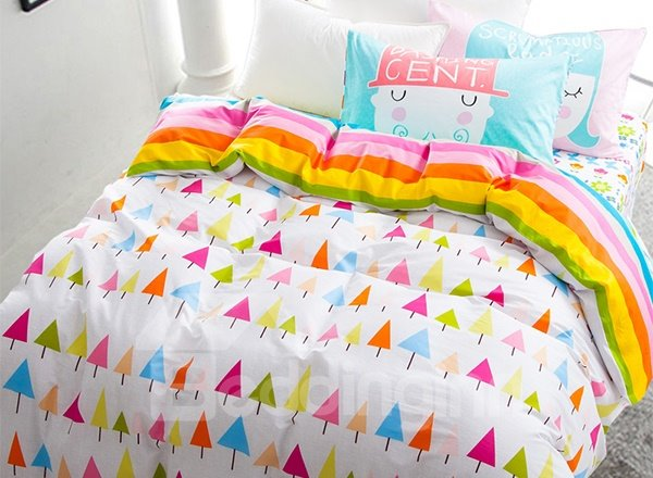 Bright Rainbow Tree Print 4-Piece Reversible Cotton Kids Duvet Cover Sets