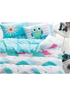 Lovely Clouds and Riandrop Print 4-Piece Cotton Kids Duvet Cover Sets