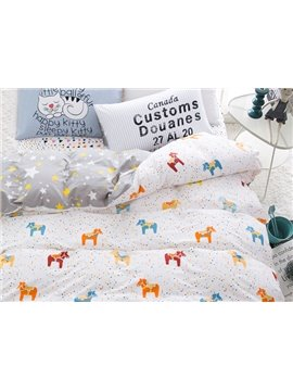 Tiny Horse Little Star Reversible 4-Piece Cotton Kids Duvet Cover Sets