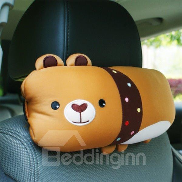 Cute Bear Cartoon Style And Comfortable Synthetic Fiber Material Car Pillow