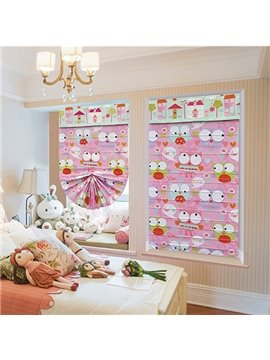 Cute Cartoon Owl with Big Eyes Custom Pink Roman Shades
