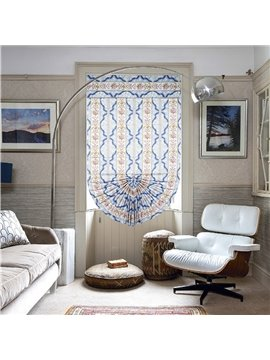 Elegant Damask Stripes and Chevron Print Custom Roman Shades