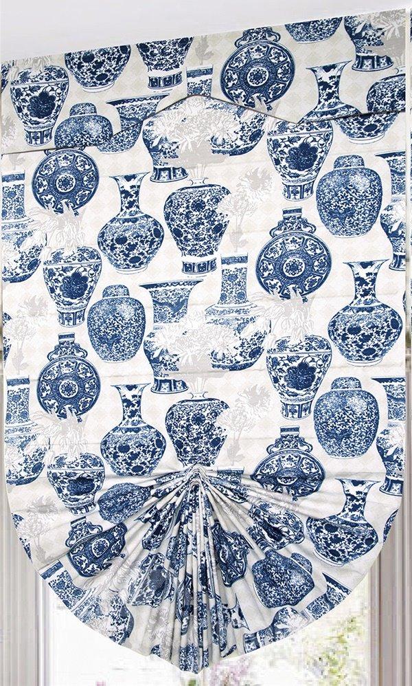 Classic Blue Vase Print Modern Decor Roman Shades